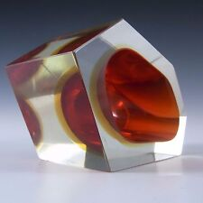 Murano Faceted Red & Amber Sommerso Glass Block Bowl