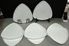 8 Vintage VITROCK Depression Milk Glass Triangle Plate Blossom Pattern