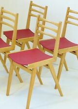 SUITE DE 4 CHAISES 1950 CHENE ZAZOU ROUGE VINTAGE FRENCH MIDCENTURY 50's CHAIRS