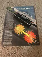 Vintage 1979 PORSCHE 924 TURBO Car Print Ad 2 1970s RARE