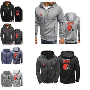 Cleveland Browns Sport Hooded Hoodie Zip Front Sweatshirt Jacket Football Coat