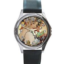 Alphonse Mucha Metal Leather Watch men women gift art nouveau fruit art