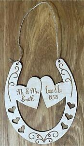 Personalised Wooden Wedding Horseshoe Keepsake Gift, Bridal, Hearts