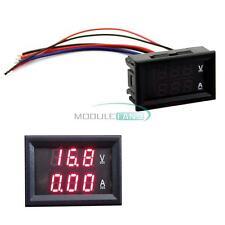 Ammeter Gauge 10A LED Digital Volt Amp Voltmeter Dual 0-100V Red DC Panel MF