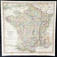 1815 Charles Smith Large Antique Map of France according to The Treaty of Paris