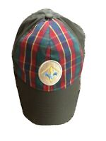 BSA Twill Webelos Cub boy Scout Cap Hat Plaid Green Youth M/L Medium/Large