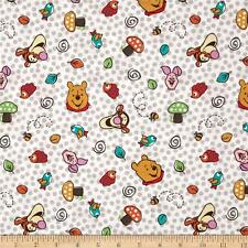 Disney Winnie the Pooh character Toss White 100% Cotton fabric by the yard