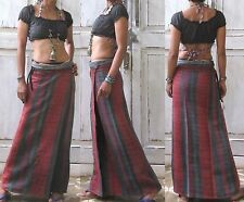 BOHO/GYPSY/ETHNIC Vtg COTTON HEMP EMBROIDERED WRAPAROUND HIPPIE MAXI SKIRT