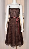 BCBG MAXAZRIA Evening Brown Cocktail Party Prom Dress Gown sz 6 Small S Max Azri