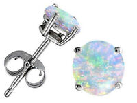 925 Silver White Fire Opal Women Trendy Jewelry Gift Party Ear Stud Earrings