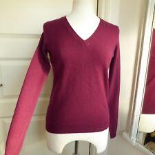 GAP Pure Cashmere Jumper V Neck Burgundy Sweater S UK 8 - 10