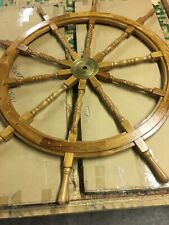 Rare Nautical 5ft Genuine Maritime Wood Brass Ships Wheel Captains Helm