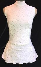 White Silver Figure Ice Skating Competition Dress
