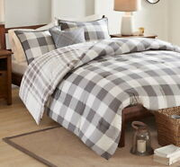 FARMHOUSE GREY PLAID 4pc COMFORTER SET : COTTON COUNTRY GRAY WHITE BUFFALO CHECK