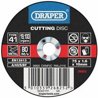 Genuino Draper Plano Discos de Corte para Metal (75 x 1.6 x 10mm) 26825