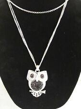 Silver Tone Triple Chain Large Owl Pendant Necklace