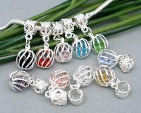10 European Versilbert  Filigran Dangle Beads