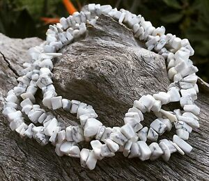 "White Buffalo Stone Howlite Necklace, 36"" Strand Chips, Bohemian Sea Gypsy"