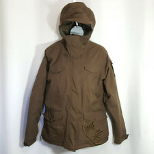 Salomon Snowboard Jacket Sz L Brown Winter Hooded Zip Up Embroidered Snake