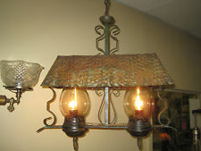 1920s Arts&Crafts Hammered Copper Two Light Hanging Fixture
