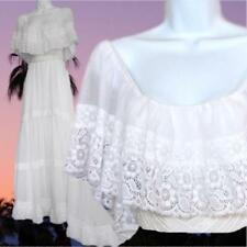 "Vintage 70s ""Mexican"" cotton gauze lace off shoulder wedding dress with train"