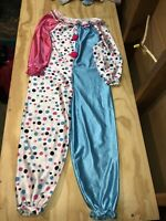 Vintage Clown Halloween Costume Child Kids Happy Fun Pink Blue Polka Dots Size 7