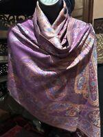 Vintage Style Knit Brocade Pashmina Paisley Scarf Wrap Shawl
