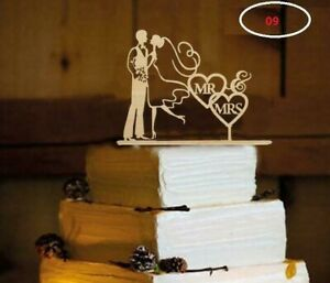WEDDING CAKE TOPPERS - Rustic Wooden Mr Mrs Cake Decoration Handmade Keepsake