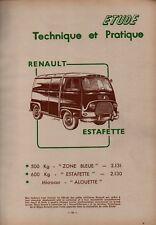▬►RTA REVUE TECHNIQUE  AUTOMOBILE de 1960  -- RENAULT ESTAFETTE ---