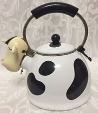 Vintage M Kamenstein Cow Teapot Enamel Whisling Tea Kettle