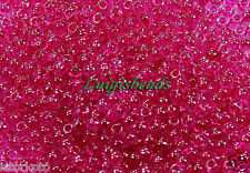 11/0 Round Toho Japanese Glass Seed Beads #350-Crystal/Fuchsia Lined 10g