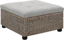 Ottoman Storage Box Seat Wooden Feet Rattan Seagrass Footstool Durable Furniture