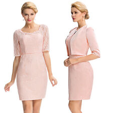 Women's Formal Occasion Half Sleeve Lace Mother Of The Bride Dress / Free Jacket
