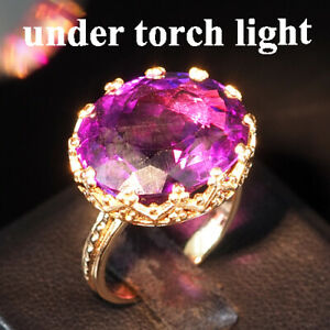 CHANGE PURPLE AMETHYST RING OVAL 16.10 CT. 925 STERLING SILVER ROSE GOLD SZ 6.75