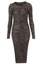 Topshop Black Nude Bronze Paisley Print Vintage Midi Bodycon Pencil Dress UK 10