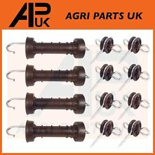 4 x Electric Fence Gate Handle & 8 x Insulators Kit Heavy Duty Pack Spring NEW