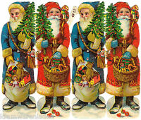 originaler Bogen 4 geprägte Weihnachtsmänner Oblaten 12 cm - DIE CUT SCRAPS