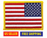 REVERSE AMERICAN FLAG EMBROIDERED PATCH iron-on GOLD BORDER USA US United States