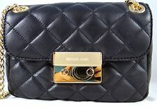MICHAEL MICHAEL KORS SLOAN BLACK GOLD QUILTED LEATHER SMALL CHAIN SHOULDER BAG