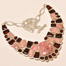 113 Gm Natural Rhodochrosite Cab,Garnet Cut Silver Overlay Necklace Ss-526