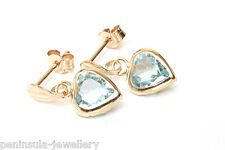 9ct Gold Blue Topaz Heart Drop earrings Gift Boxed Made in UK