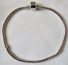 "Silver Tone Alloy European Charm Starter Bracelet with Click Clasp 9""/23cms SALE"