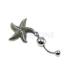 New Retro Starfish Sea Star Rhinestone Belly Ring Body Button Bars Jewellery