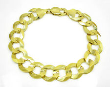 "32 Grams 14.3mm 9"" Mens 10k Yellow Real Gold Curb Cuban Miami Solid Bracelet"