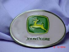 JOHN DEERE PINK BELT BUCKLE WITH GREEN JD LOGO, NEW