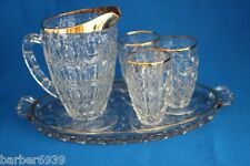 VINTAGE JEANETTE THUMBPRINT GOLD TRIM  PITCHER 3 GLASSES  CHRISTMAS TRAY c1950