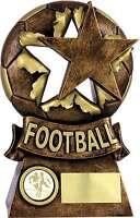 Football Trophies Resin Football Ball & Star Trophy Award 3 sizes FREE Engraving