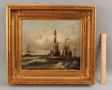 19thC Antique Maritime Seascape Oil Painting, Early Lighthouse & Sailing Ships