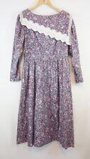 Gunne Sax Vintage Dress Hippie Prairie Boho Victorian Modest Floral Sz 13