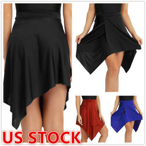 US _Womens Latin Salsa Tango Skirt Dress Asymmetrical Skate Wrap Scarf Dancewear